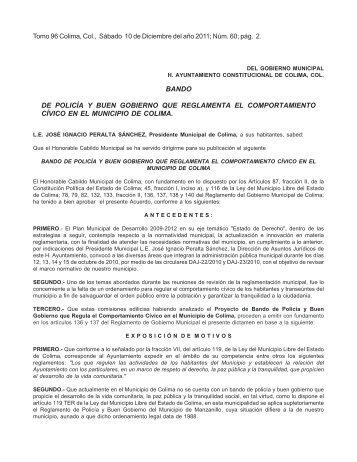 bando de policía y buen gobierno que reglamenta el ... - Colima