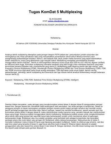Tugas KomDat 5 Multiplexing - Komunitas Blogger Unsri ...