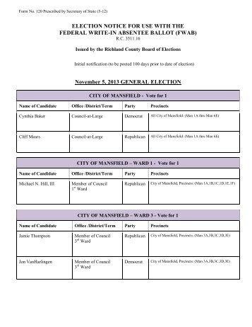 November 5, 2013 GENERAL ELECTION - Richland County