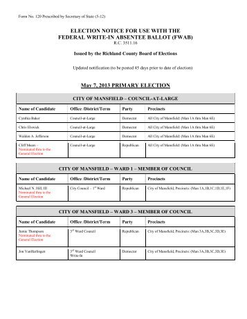 FEDERAL WRITE-IN ABSENTEE BALLOT (FWAB) May 7 2013 PRIMARY ELECTION