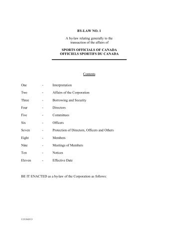 By/Laws. (English) pdf - Sports Officials Canada