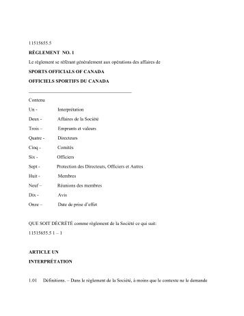By/Laws. (French) pdf - Sports Officials Canada