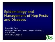 Epidemiology and Management of Hop Pests and Diseases