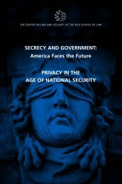 SECRECY AND GOVERNMENT - The Center on Law and Security