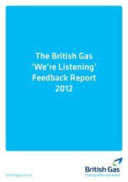 The British Gas 'We're Listening' Feedback Report 2012