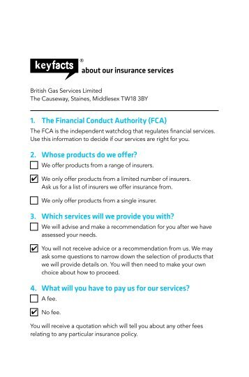 about our insurance services 1. The Financial Conduct ... - British Gas