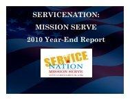 SERVICENATION: MISSION SERVE 2010 Year-End Report
