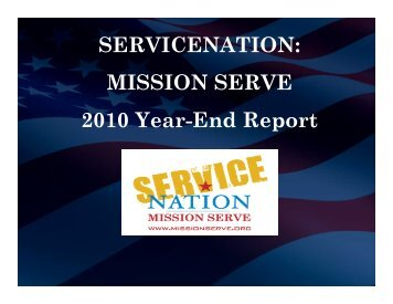 SERVICENATION: MISSION SERVE 2010 Year-End Report