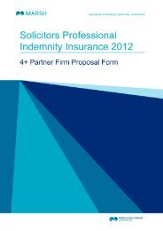 Solicitors Professional Indemnity Insurance 2012 - 4+ Partner Firm Proposal Form