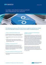 GLOBAL INSURANCE REGULATORY AND PREMIUM TAX UPDATE
