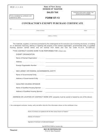st 13 tax exempt form