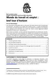 Monde du travail et emploi: bref tour d'horizon - SP Schweiz