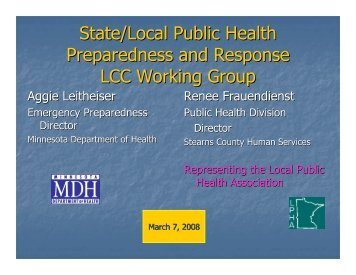 State/Local Public Health Preparedness and Response LCC Working Group