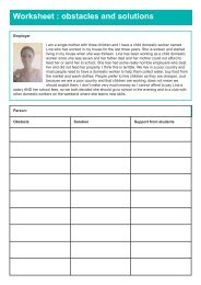 Worksheet  obstacles and solutions