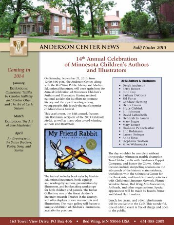Fall Winter Newsletter - Anderson Center