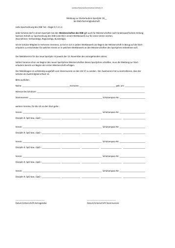 Meldung zur Starterlaubnis Sportjahr SVST