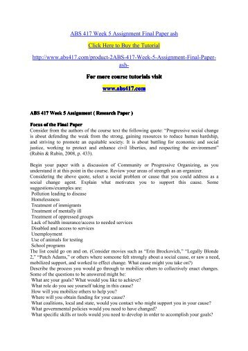 ABS 417 Week 5 Assignment Final Paper as/ abs417dotcom
