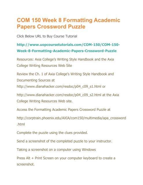 Com 150 Week 8 Formatting Academic Papers Crossword Puzzle Pdf