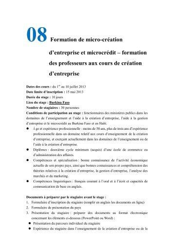 08Formation de micro-création d'entreprise et microcrédit ...