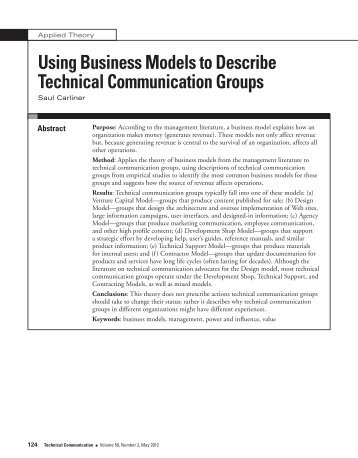 Using Business Models to Describe Technical Communication Groups