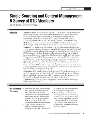Single Sourcing and Content Management - Technical ...