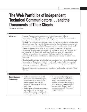 The Web Portfolios of Independent Technical Communicators ...