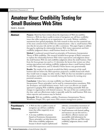 Amateur Hour Credibility Testing for Small Business Web Sites