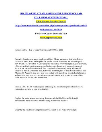 BIS 220 WEEK 3 TEAM ASSIGNMENT EFFICIENCY AND COLLABORATION PROPOSAL