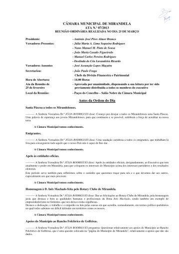 CÂMARA MUNICIPAL DE MIRANDELA ATA N.º 07/2013 Antes da Ordem do Dia