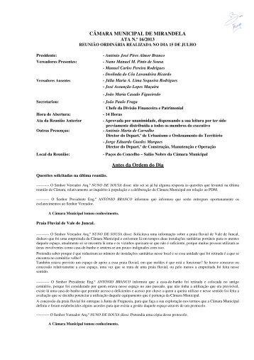 CÂMARA MUNICIPAL DE MIRANDELA ATA N.º 16/2013 Antes da Ordem do Dia