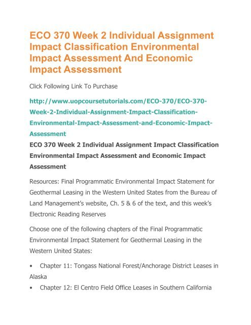 ECO 370 Week 2 Individual Assignment Impact Classification