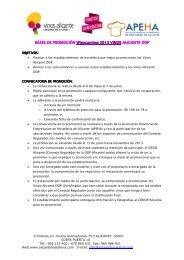 BASES DE PROMOCIÓN Winecanting 2013 VINOS ALICANTE DOP
