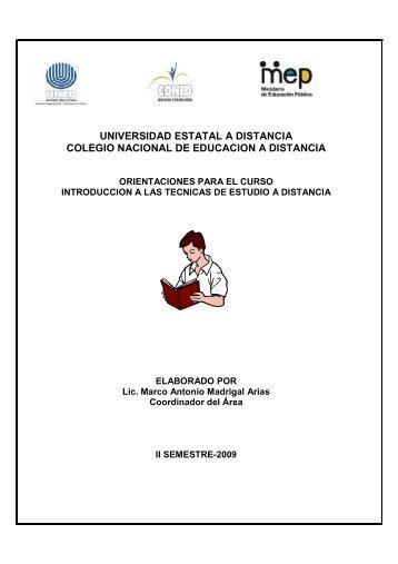 UNIVERSIDAD ESTATAL A DISTANCIA COLEGIO NACIONAL DE EDUCACION A DISTANCIA