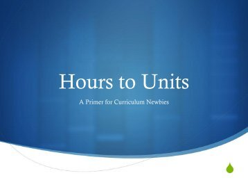 Hours to Units