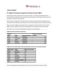 4 Update of Temporary Suspension of Kenya Airways' Flights