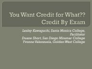 You want Credit for What? - ASCCC