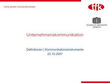 Definitionen, Kommunikationsinstrumente - tfk