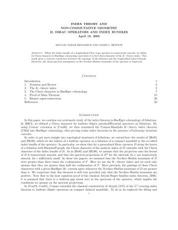 INDEX THEORY AND NON-COMMUTATIVE GEOMETRY II. DIRAC ...