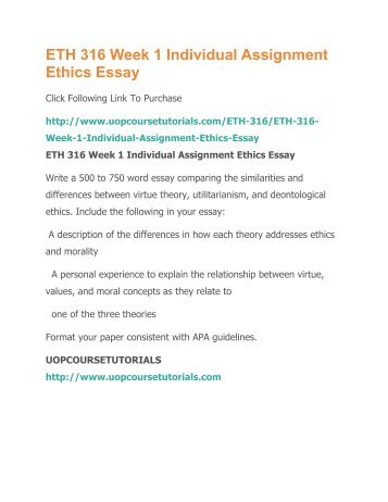 Individual assignment ethics essay