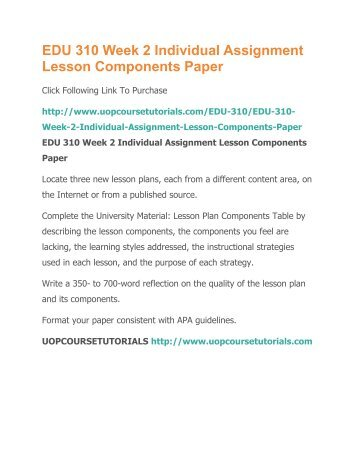 Edu 310 Week 2 Individual Assignment Lesson Components Paperpdf