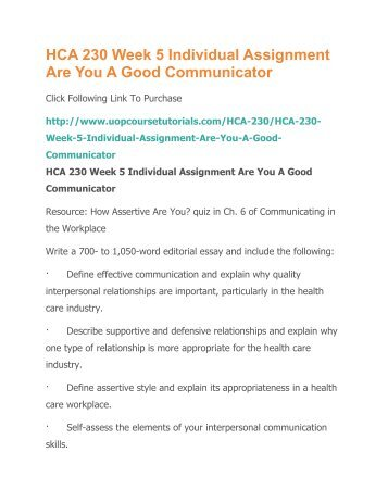 interpersonal skills assignment