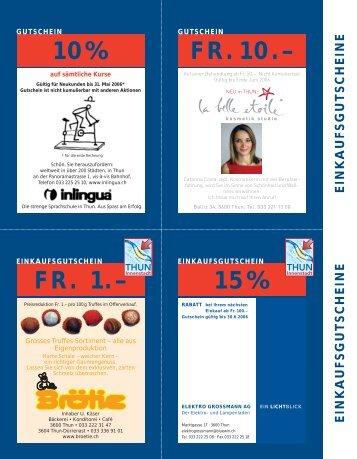 10% 15% FR. 1.– FR.10.– - Thun