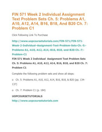 fin 571 problems sets Fin 571 week 2 individual assignment text problems set c20 subject: business this file of bus 517 week 3 dqs encompasses: project scope and wbs please respond to the following:select a.