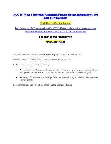 personal cashflow statement