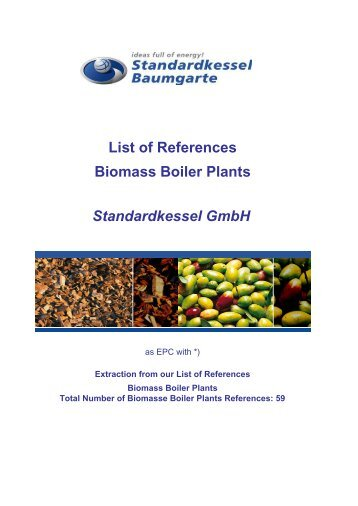 List of References Biomass Boiler Plants Standardkessel GmbH