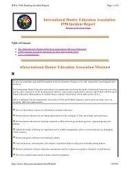 1998 Hunter Incident Summary - International Hunter Education ...