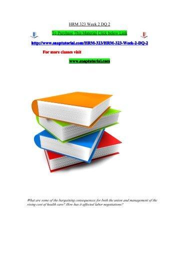 HRM 323 Week 2 DQ 2/snaptutorial