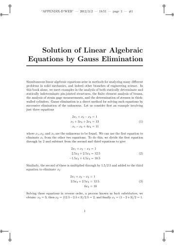 solution of linear equations by gaussian Contents • system of equations • system of linear equation • solving linear  system of equations • gauss elimination method • gauss jordan.