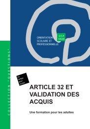 ARTICLE 32 ET VALIDATION DES ACQUIS