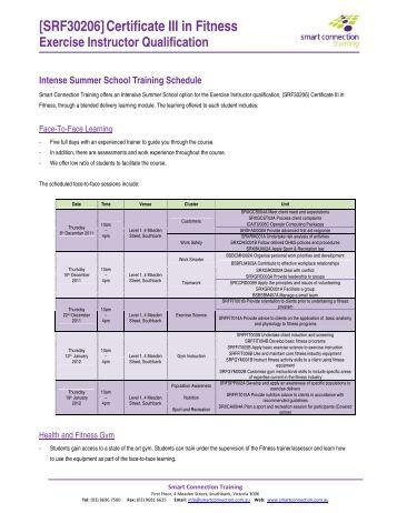 [SRF30206] Certificate III in Fitness